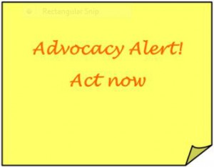 "Graphic: ""Advocacy Alert! Act Now"""